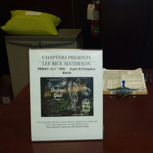 Chapters tweeted about us, Facebooked too and had signs found around the store and at the check-out. Very kind staff and supportive to authors! Thank you kindly Erica, Christina and Harold!