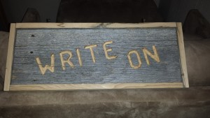 Write On is Lee's expression to inspire herself to sit and write at her desk. No excuses, daily!